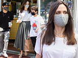 Angelina Jolie and sons Pax, 17, and Knox, 12, grab hot dogs during family vacation to NYC