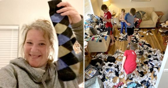 Mum's brilliant self-isolation parenting hack gets kids to match more than 600 odd socks
