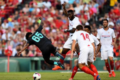 Liverpool's Yasser Larouci suffers worrying injury after being kicked by Sevilla star