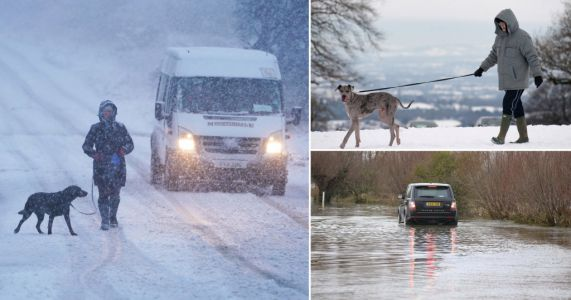 Seven inches of snow to blanket UK as heavy rain triggers flood warnings