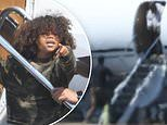 Kanye West along with son Saint West gets picked up by a private jet in Cody, Wyoming