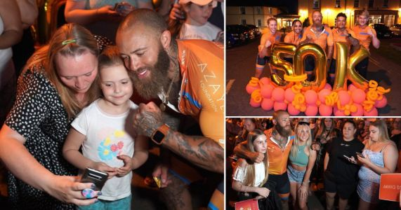 Ashley Cain tearful as fans turn out in their hundreds to support charity bike ride in memory of baby girl Azaylia