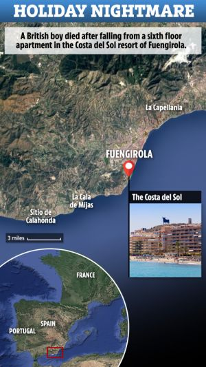 British boy, 13, dies in front of his mum after plunging from sixth-floor apartment block in the Costa del Sol