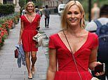Jenni Falconer flaunts her toned figure in a red summer dress after recording her Smooth Radio show