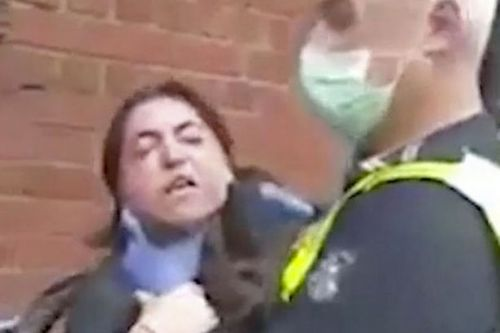 Policeman filmed 'choking' woman after she refuses to wear coronavirus face mask