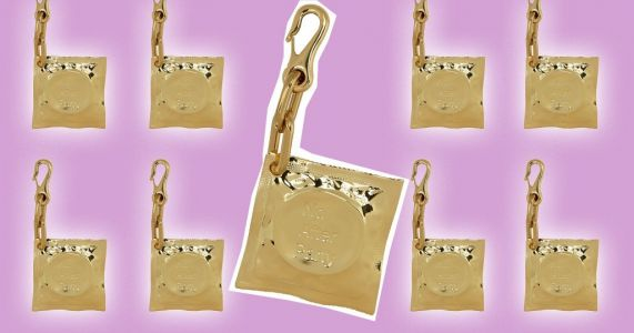 Alexander Wang is selling a gold condom keyring for £185