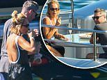 Michael Clarke and Pip Edwards spotted looking cosy over a couple of champagnes on a luxury yacht