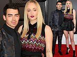 Sophie Turner showcases her long legs in a ruffled miniskirt at Grammy Awards