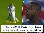 Nicolas Pepe issues apology to Arsenal team-mates and fans after headbutting Leeds' Ezgjan Alioski