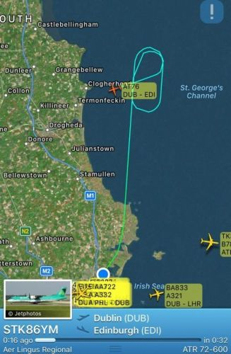 Aer Lingus flight from Dublin Airport to Edinburgh forced to return after it was struck by lightning