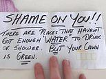 Resident's note shaming them over green lawn while others don't have water to 'drink or shower'