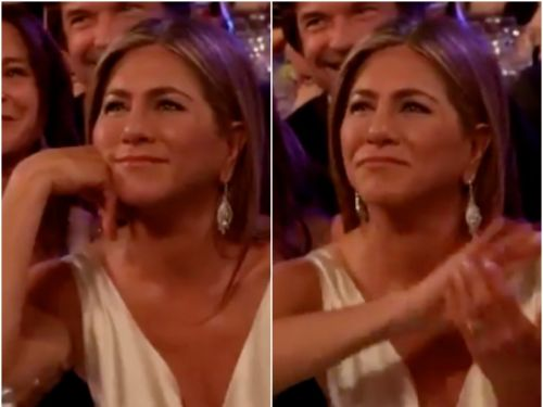Jennifer Aniston clapped when Brad Pitt joked about 'not getting on with his wife' at the SAG Awards