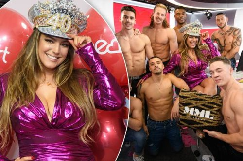 Kelly Brook left flustered after strip tease by Magic Mike crew for her naughty 40 party