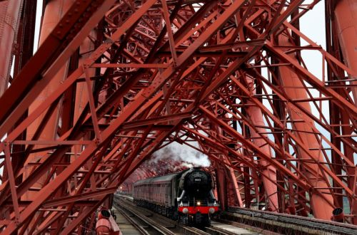 Watch: Flying Scotsman crosses Forth Bridge as it tours country