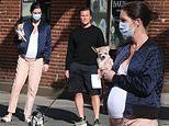 Pregnant Hilary Rhoda shows off her growing baby bump while stepping out with husband Sean Avery