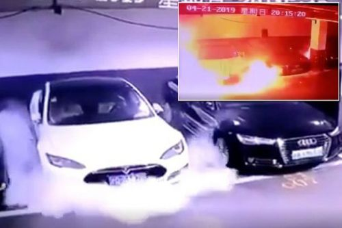 Tesla investigating video of Model S electric car EXPLODING into flames
