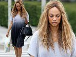 Tyra Banks beats the heat in a chic ombre cover-up on a hot summer day in LA