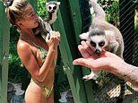 Hailey Bieber puts her fabulous bikini body on display as she makes friends with lemur