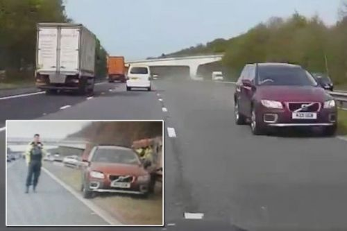 Heart-stopping moment motorist is forced to swerve to dodge drink-driving OAP hurtling the WRONG way down M6