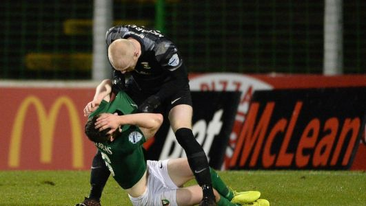Watch: Glentoran goalkeeper Aaron McCarey sent off for 'moment of madness' clash with team-mate Bobby Burns