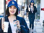 Lucy Hale shows her LA Dodgers pride as she leaves the gym after grueling workout