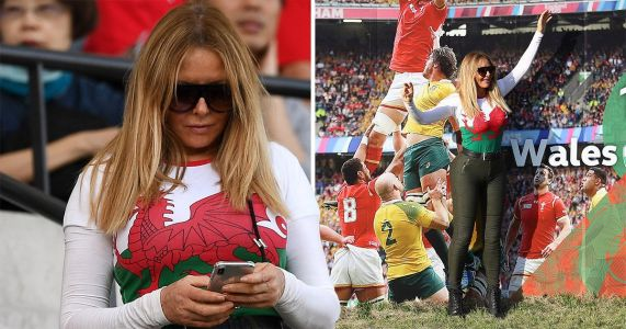 Carol Vorderman dons favourite skin-tight jeans with Welsh flag as she loves life at Rugby World Cup
