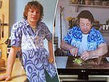 Jamie Oliver, 44, re-wears a shirt from the cover of his 1999 debut cookbook The Naked Chef