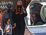 Tyra Banks and beau Louis Bélanger-Martin take her son York Banks Asla out for breakfast in Malibu