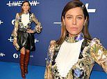 Jessica Biel is vision in pleated leather skirt with puffy baroque blouse at Limetown premiere