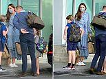 Prince William and Kate Middleton are spotted outside Heathrow Airport with their children