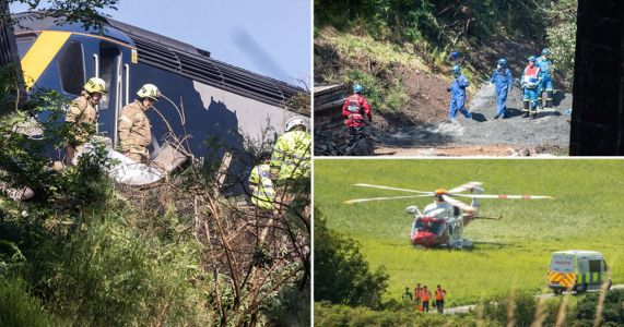 Driver and two others confirmed dead after train derails and bursts into flames