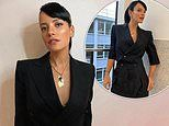 Lily Allen channels 80s glamour in a peaked blazer and high slung trousers