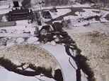 Stunning drone footage shows layer of ice crumbling away from Maine river that freezes every winter