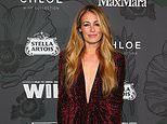 Cat Deeley goes braless underneath plunging velvet gown as she attends Women In Film Oscar party