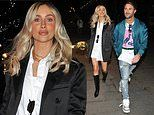 Pregnant Danielle Fogarty covers up her baby bump in oversized shirt dress and blazer in Manchester