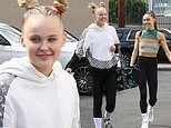 JoJo Siwa dons monochrome look as she arrives for DWTS rehearsals in LA with Jenna Johnson