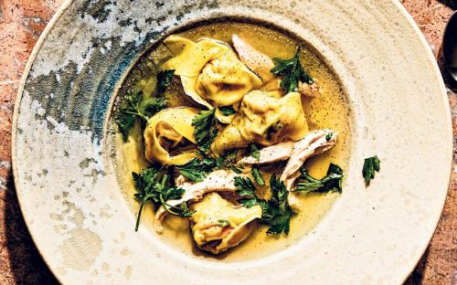 Chicken and broth with herby wonton dumplings recipe