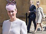 Zara Tindall looks effortlessly chic in a nude wool coat and pink hat at Easter Sunday service