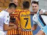 Video: Lazio's Serie A hopes implode as former Barcelona ace Patric sent off for BITING his opponent