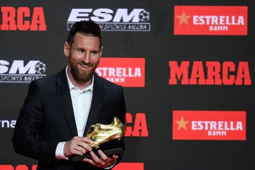 Lionel Messi receives golden shoe after stunning 36 La Liga goals last season