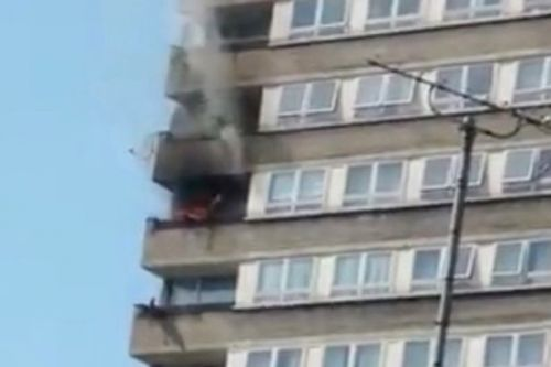 Firefighters tackling blaze at block of flats near to Grenfell Tower