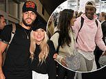 Love Island winners Paige and Finn look giddy as they touch down at Heathrow airport