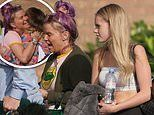 Kerry Katona steps out with her daughter Lilly-Sue, 18, to film Coach Trip