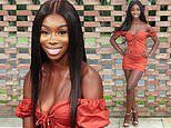 Love Island's Yewande Biala parades her pins in a tiny orange mini-dress for TV appearance