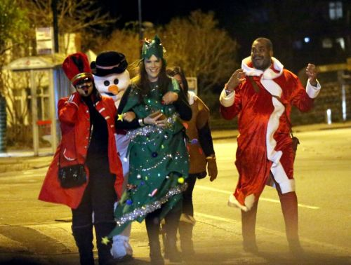 Boozy festive revellers have a VERY merry Christmas night out