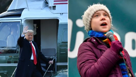 Greta Thunberg uses Trump's own words to mock him as he leaves White House
