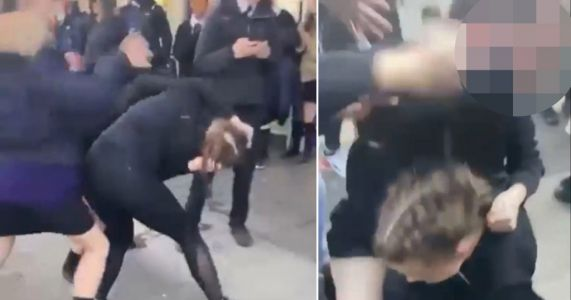 Schoolgirl beaten and dragged by the hair by gang of children
