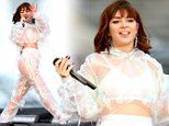 Charli XCX flashes her underwear in sheer PVC tracksuit