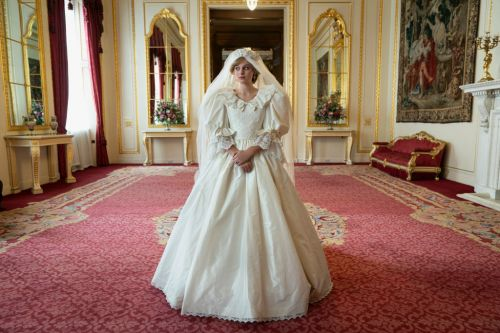 The Crown season 4 star Emma Corrin shows the work that went into creating Princess Diana's wedding dress