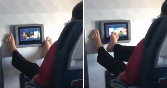 Passenger uses bare feet to control plane touch-screen, Twitter users understandably disgusted